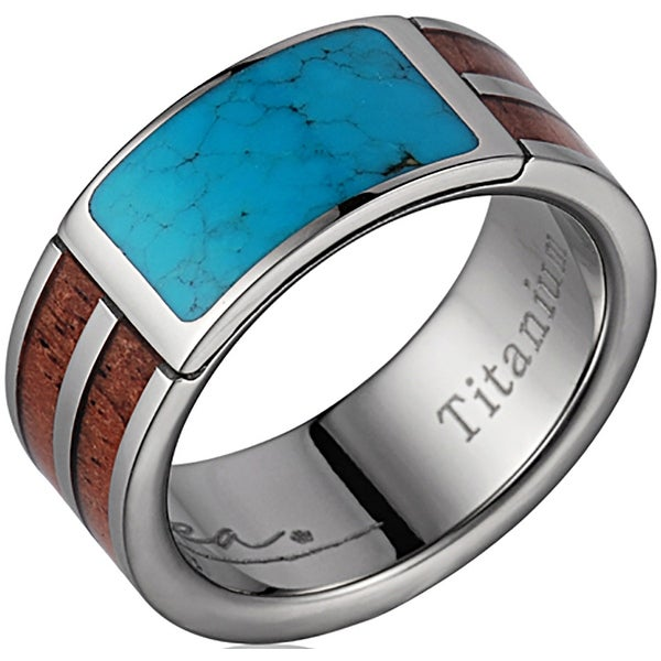 Titanium Wedding Band With Koa Wood Inlay with Turquoise 8mm