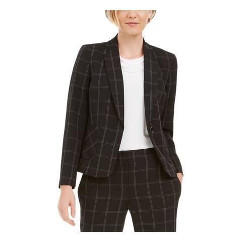 KASPER Womens Black Plaid Suit Wear To Work Jacket Size 14