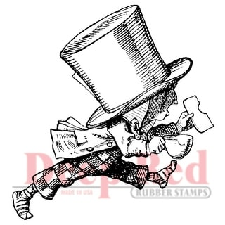 """Deep Red Cling Stamp 2""""X2""""-Mad Hatter Running"""