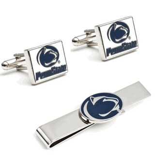 Penn State Nittany Lions Cufflinks and Tie Bar Gift Set - navy