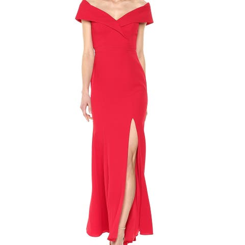 Xscape Womens Gown Cherry Red Size 8 T High Slit Off Shoulder Seamed