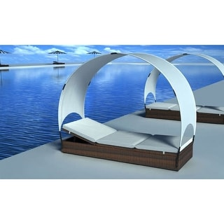 vidaXL Sun Lounger with Canopy Poly Rattan 2 colors