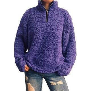 QZUnique Women Fleece Sweatshirt Casual Long Sleeve Pullovers Tops