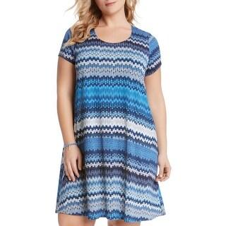 Karen Kane Womens Plus Babydoll Dress Printed Short Sleeves