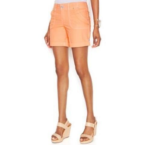 INC Women's Curvy-Fit Twill Cuffed Utility Shorts Peach Pink (0) - Peach Punch - 0