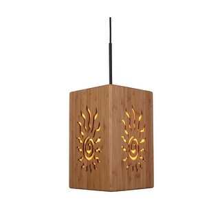 Woodbridge Lighting 14023MEBWL-W3D2BB Light House 1 Light Mini Pendant with Radiance Bamboo Shade and Metallic Bronze Finish