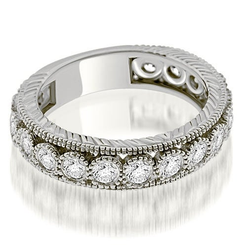 0.63 cttw. 14K White Gold Antique Style Round Cut Bezel Diamond Eternity Band