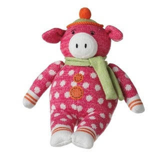 "14"" Genuine monkeez and Friends Pink Polka Dot Plush Pearl Pig Stuffed Animal"