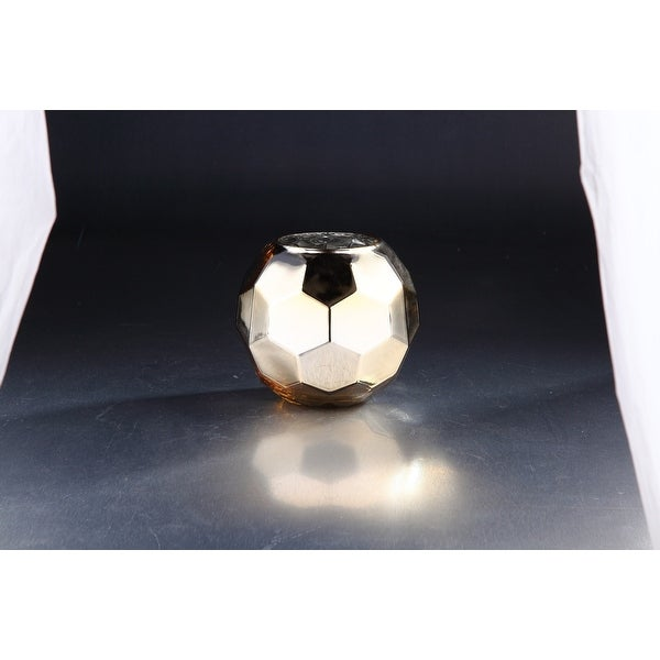 """7"""" Silver and Golden Colored Hexagon Hand Blown Glass Vase - N/A"""