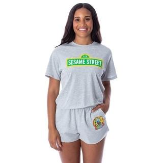 Link to Sesame Street Women's Street Sign Shirt and Shorts 2 Piece Pajama Loungewear Set Similar Items in Intimates
