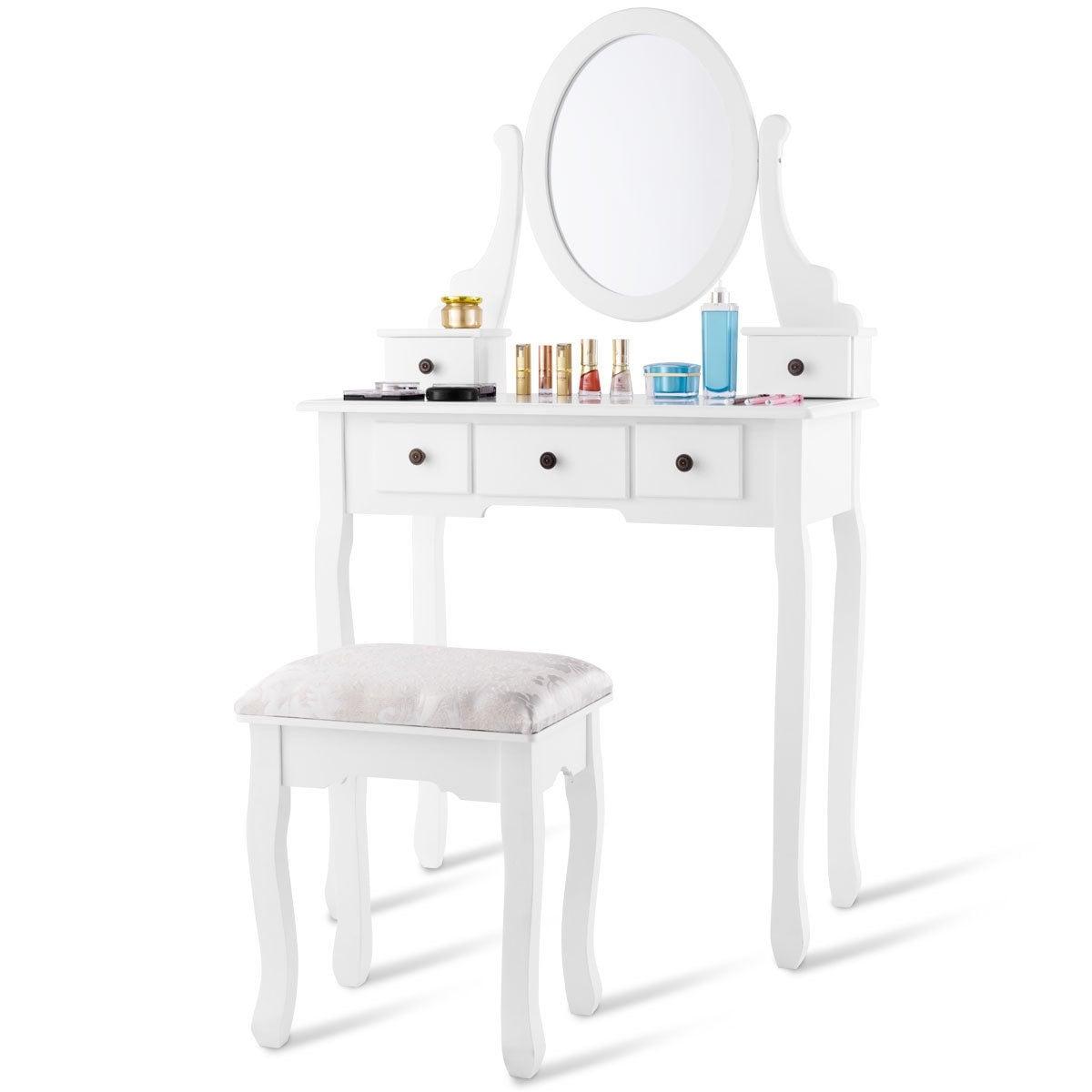 Costway Makeup Desk Vanity Dressing Table Set W/ Oval Mirror Stool 5 Storage Drawers
