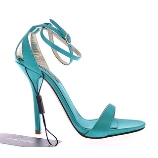 Dolce & Gabbana Blue Silk Ankle Strap Sandals Heels Shoes - 40