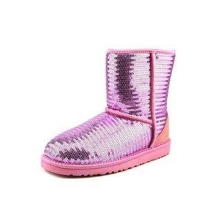 Ugg Australia Youth Short Sparkles Youth Round Toe Synthetic Pink Snow Boot