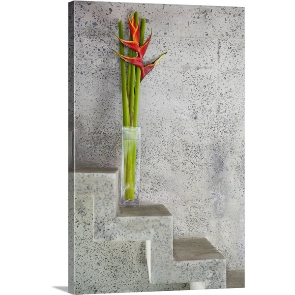 """""""Tropical flowers on stone stairs"""" Canvas Wall Art"""