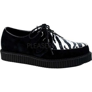 Demonia Men's Creeper 600 Black Suede/Zebra Fur