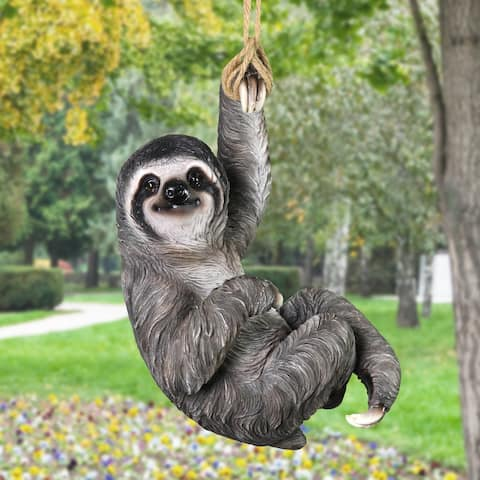 Sloth Hanging on a Rope By One Hand Statuary, 7 by 14 Inches