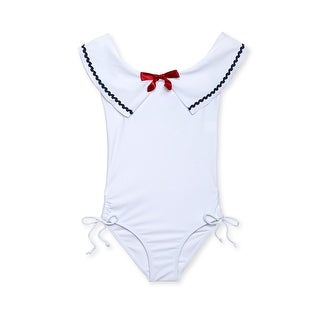 Stella Cove Girls White Sailor Rick Rack Trim One Piece Swimsuit