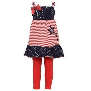 Good Lad Little Girls Navy Red Stripe Print Star Patriotic Legging Set 2T