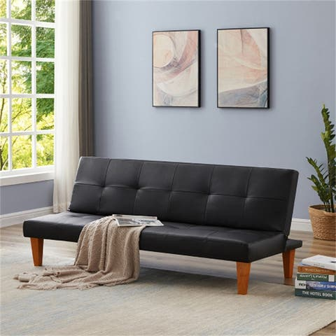 Modern Folding PU Leather Sofa Bed Couch With Wood Legs,Tufted Back,Black