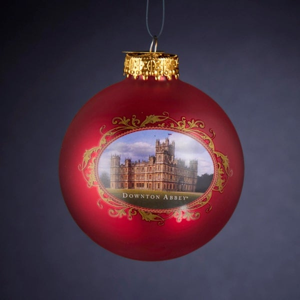 "3"" Red Glass Downton Abbey Castle Decorative Christmas Ball Ornament"