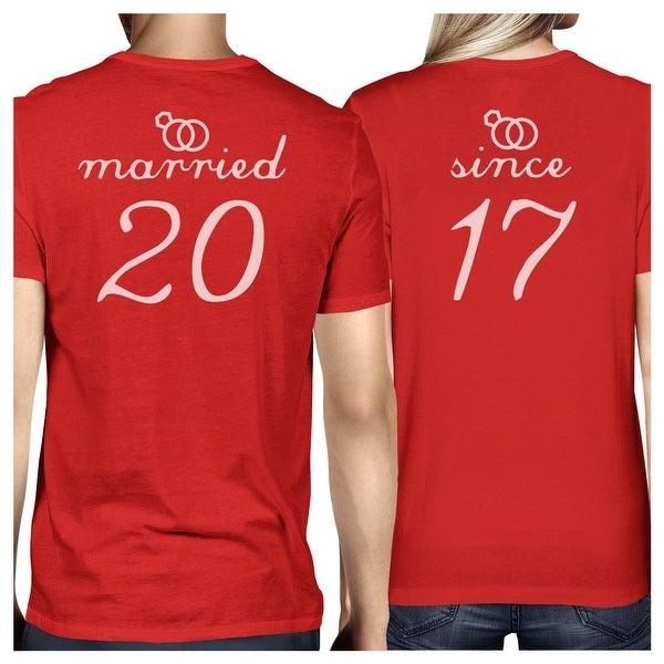 805df1fc6f Shop Married Since Red Short Sleeve Tees Funny Matching Couple T-Shirts -  On Sale - Free Shipping Today - Overstock - 23001154