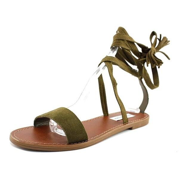 Steve Madden Kaara Women Open Toe Suede Green Gladiator Sandal