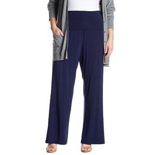 Tart Navy Blue Womens Size 4X Plus Pull-On Foldover Stretch Pants