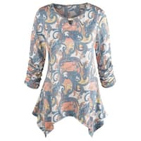 Women's Ruched Sleeve Paisley Tunic