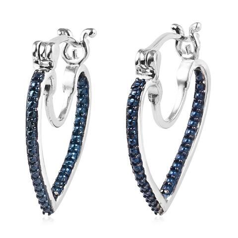 Rhodium and Platinum Over 925 Silver Blue Diamond Hoop Earrings - Medium