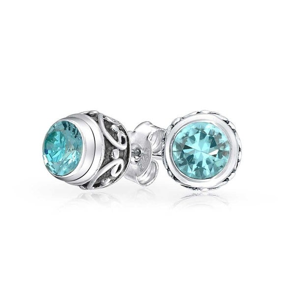 90c10e28e Shop Bali Style Tiny Round Gemstone Blue Topaz Stud Earrings For Women  Oxidized 925 Sterling Silver December Birthstone - On Sale - Free Shipping  On Orders ...