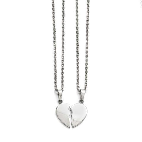 Chisel Stainless Steel Polished 1/2 Heart Necklace Set