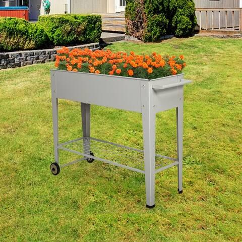 Kinbor Metal Raised Garden Bed w/ Legs, Elevated Planter Box On Wheels with Storage Shelf, Planter Herbs Vegetables Flower Box