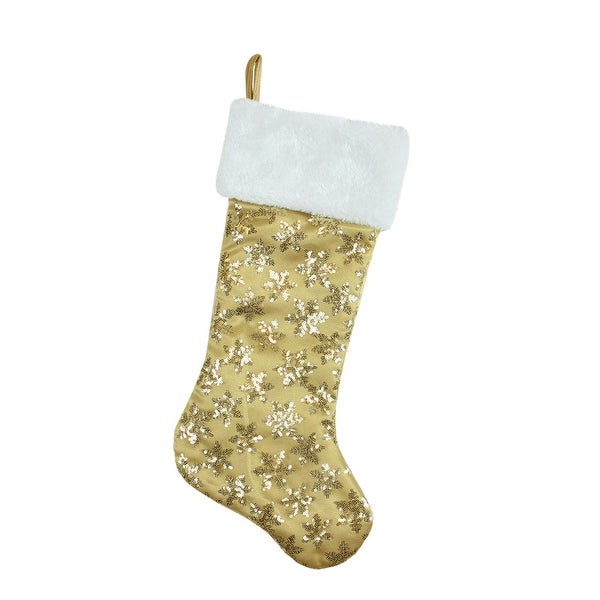 "20.5"" Gold Sequin Snowflake Christmas Stocking with White Faux Fur Cuff"