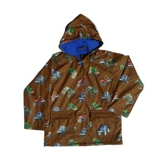 Little Boys Brown Monster Truck Rain Coat 2T-6