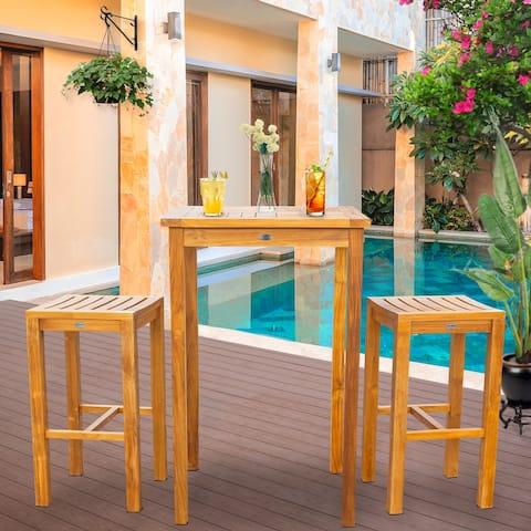 "Chic Teak 3 Piece Teak Wood Havana Small Patio Bistro Bar Set with 27"" Square Table & 2 Barstools"