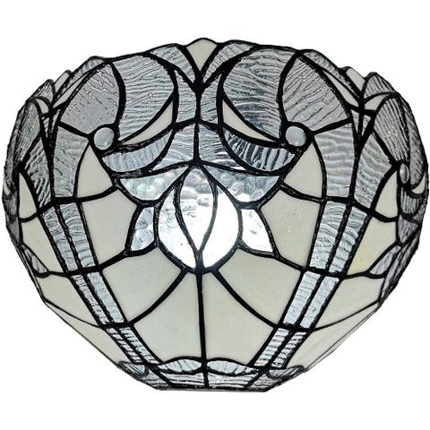 Tiffany Style White Floral Wall Sconce Lamp AM249WL10B Amora Lighting