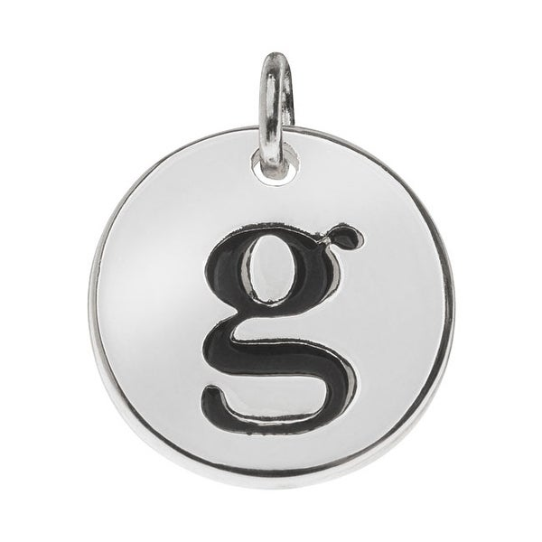 Lead-Free Pewter, Round Alphabet Charm Lowercase Letter 'g' 13mm, 1 Piece, Silver Plated