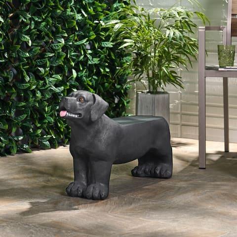 Hyrum Outdoor Cast Stone Outdoor Labrador Dog Garden Bench by Christopher Knight Home