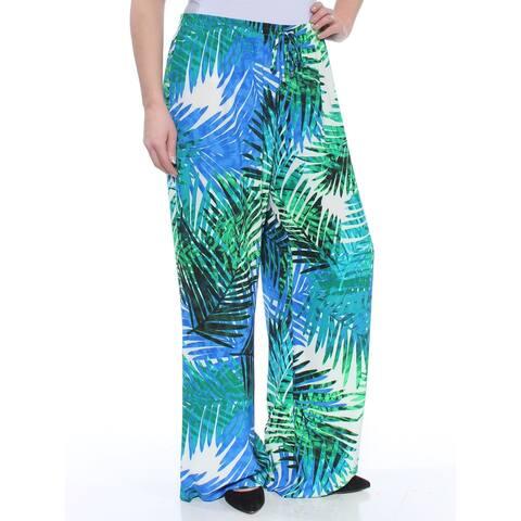 CALVIN KLEIN Womens Green Printed Wide Leg Pants Size L
