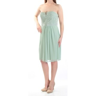 Adrianna Papell Green Womens Size 8 Strapless Lace Sheath Dress
