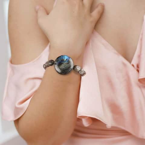 Natural Labradorite Stretch Bracelet Healing Gemstone Handmade Women Jewelry