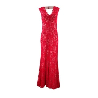 Xscape Women's Illusion Scalloped Lace Gown