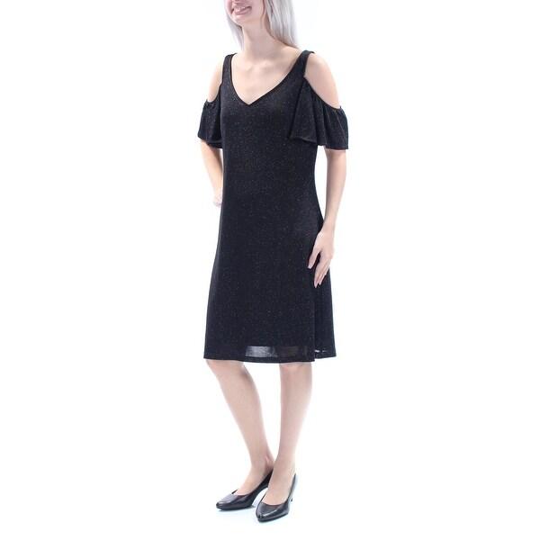 MSK Womens Black Glitter Short Sleeve V Neck Above The Knee A-Line Cocktail Dress Size: 6