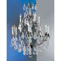 "Classic Lighting 8013 39"" Crystal Cast Brass Chandelier from the Versailles Collection - Aged Bronze"