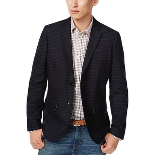 Tommy Hilfiger Navy Blue Striped Wool Blend Flannel Sportcoat Small S