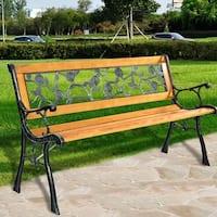 Costway Patio Park Garden Bench Porch Chair Outdoor Deck Cast Iron Hardwood Rose