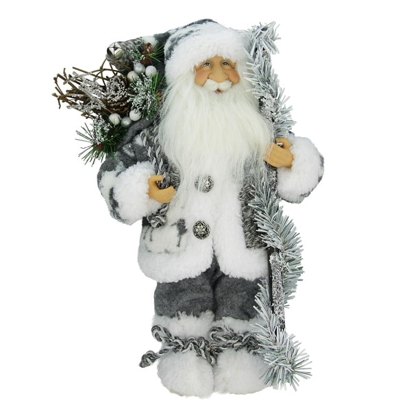 """12"""" Country Patchwork Standing Santa Claus Christmas Figure"""