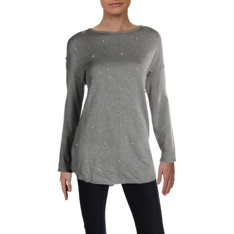 Philosophy Womens Crewneck Sweater Heathered Beaded - Flannel - L