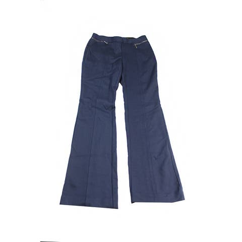 Alfani Navy Front Zip Flare Leg Pants XS