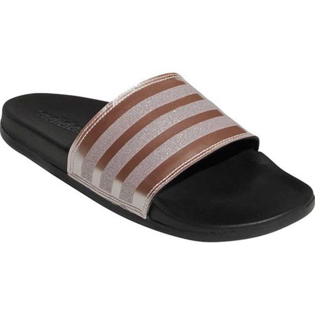 adidas Women's Adilette Cloudfoam Plus Explorer Slide Vapor Grey Met/Vapor  Grey Met/Black